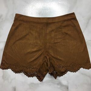 Faux Suede Scalloped Shorts with Cutout Pattern XS